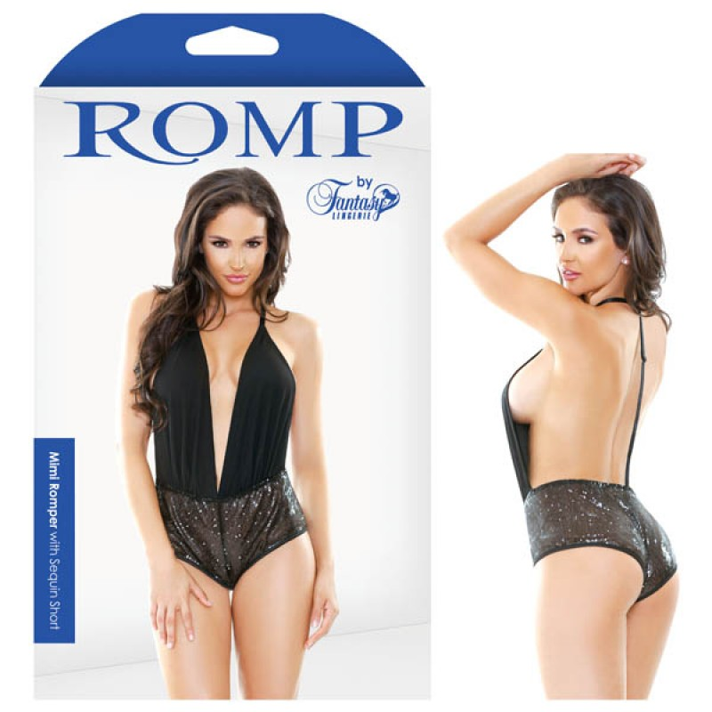 Fantasy Lingerie Romp Mimi Romper With Sequin Short - S/M