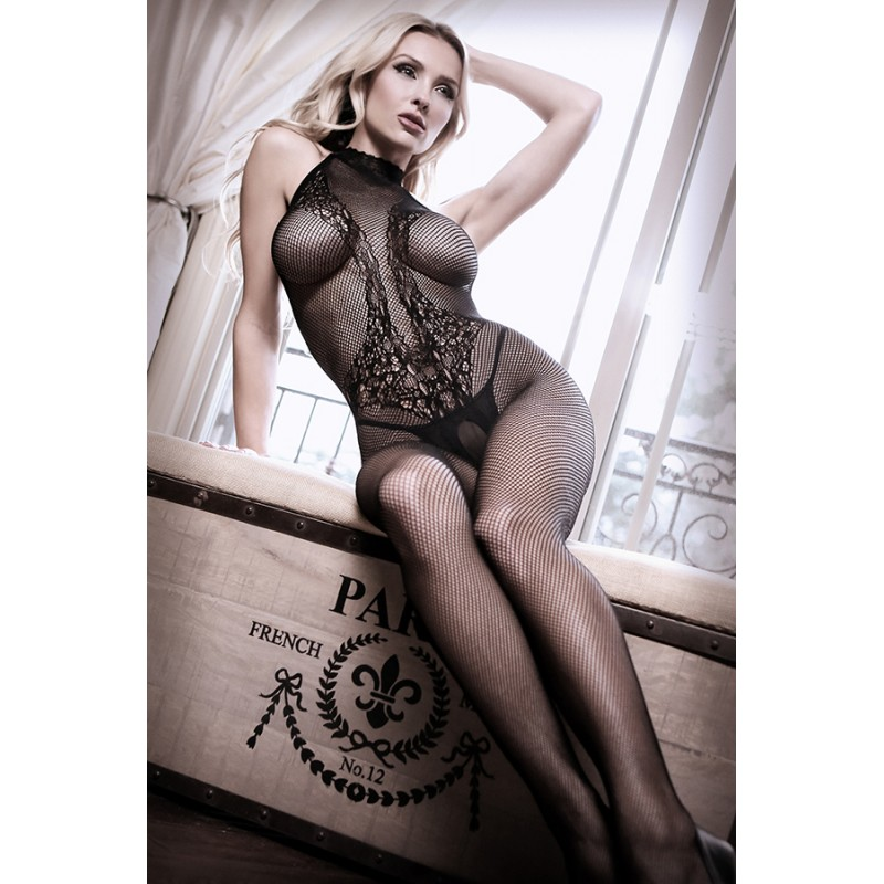 Sheer Fantasy Back To Black Lace Bodystocking with Ornate Tattoo - One Size