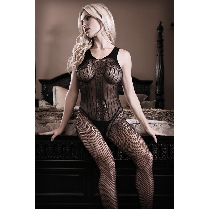 Sheer Fantasy Sheer Fantasy Black Diamond Fishnet Teddy Bodystocking - One Size