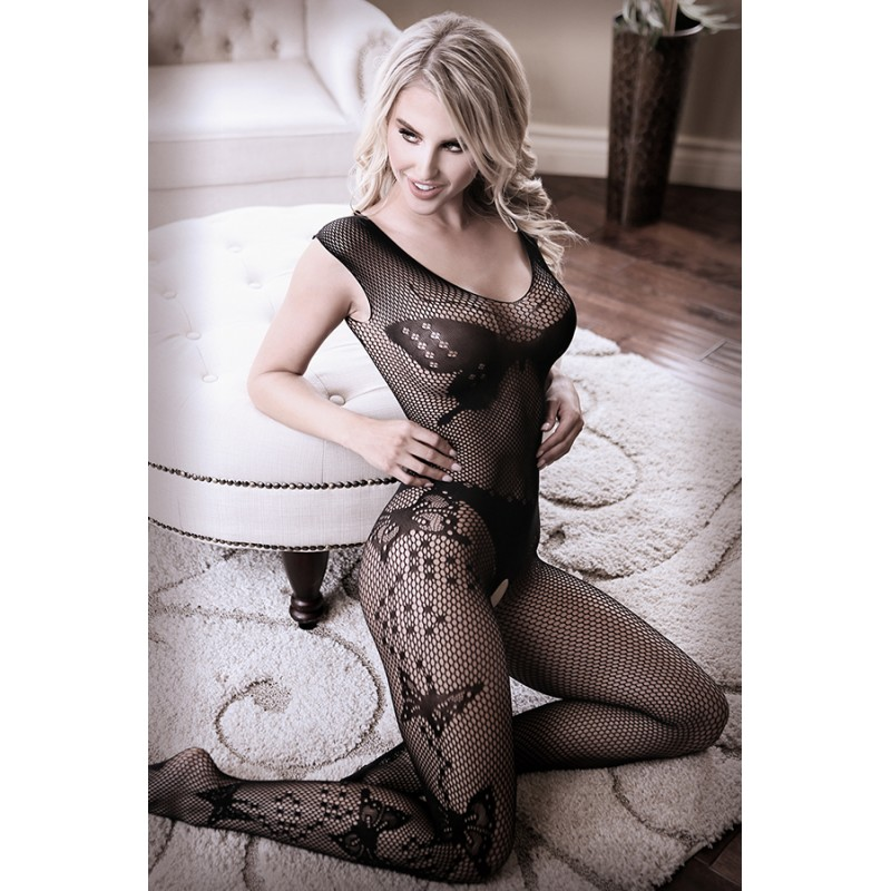 Sheer Fantasy Dark Monarch Butterfly Knit Bodystocking - One Size