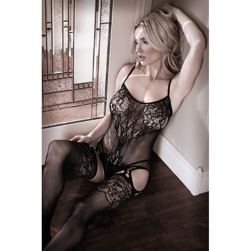 Sheer Fantasy Nightshade Gartered Teddy Bodystocking - One Size