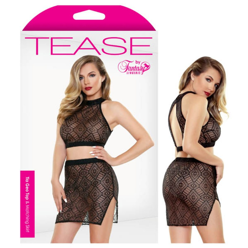 Fantasy Lingerie - Tease Tia Geo Top & Matching Skirt - S/M