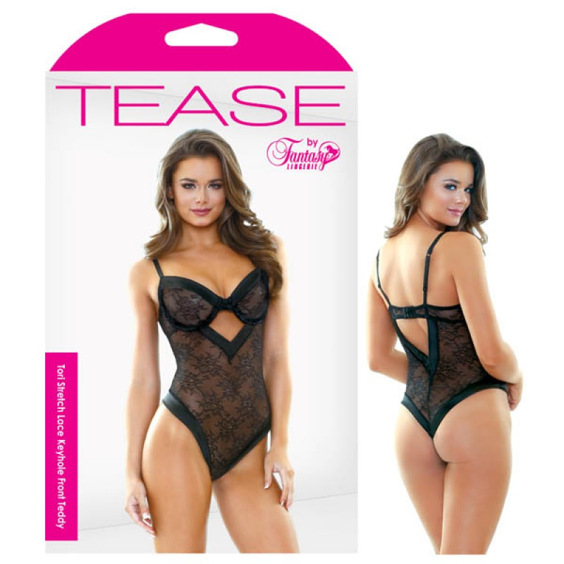 Fantasy Lingerie - Tease Tori Stretch Lace Keyhole Front Teddy - S/M