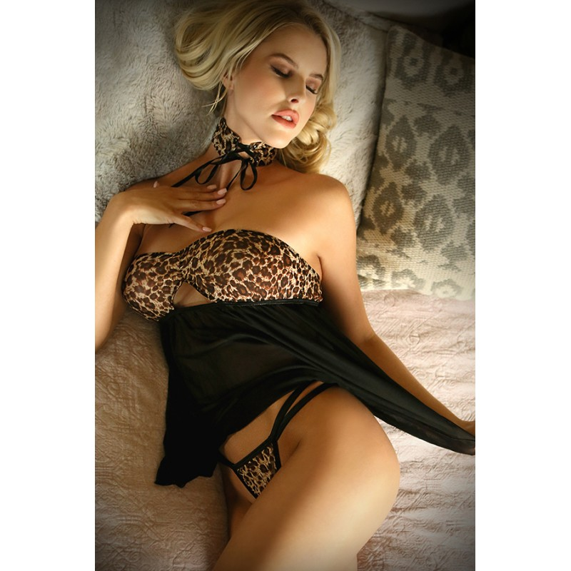 Fantasy Lingerie - Vixen Wild Thoughts Babydoll, Panty & Lace Up Choker - One Size