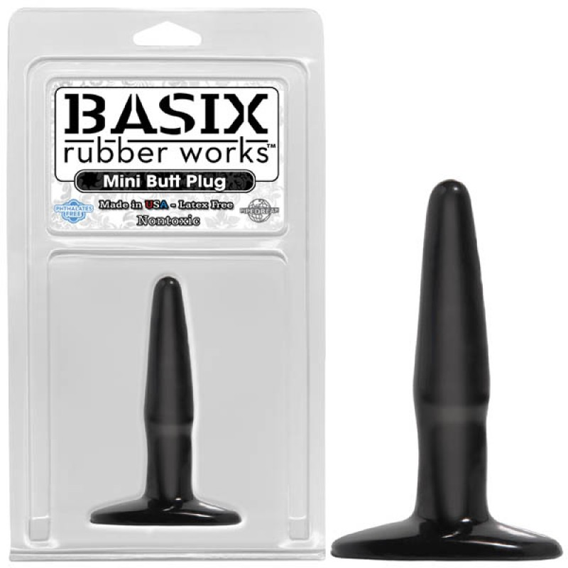 Basix Rubber Works Mini Butt Plug - Black