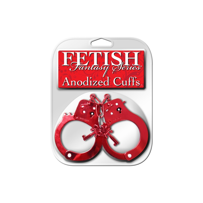 PipeDream Fetish Fantasy Anodized Hand Cuffs - Red
