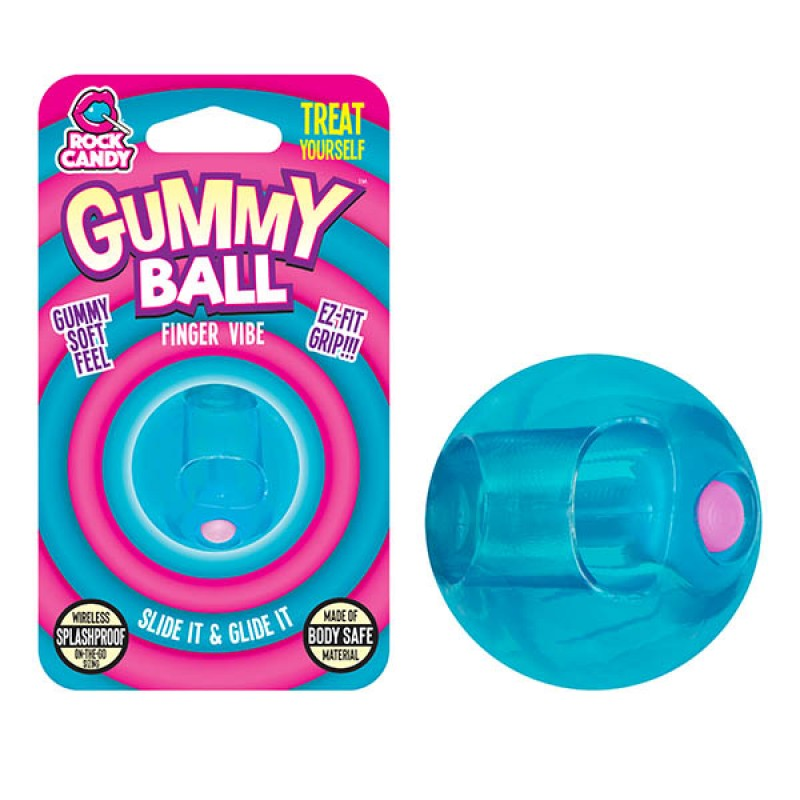 Gummy Ball Finger Vibrator - Blue (Blister)