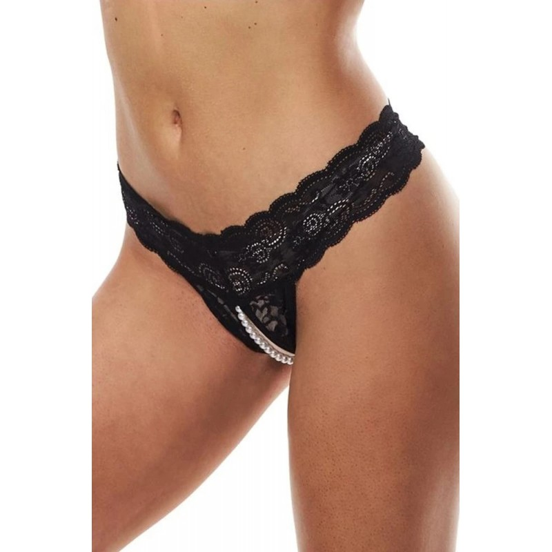 Secret Kisses Lace & Pearls Crotchless Thong - S/M