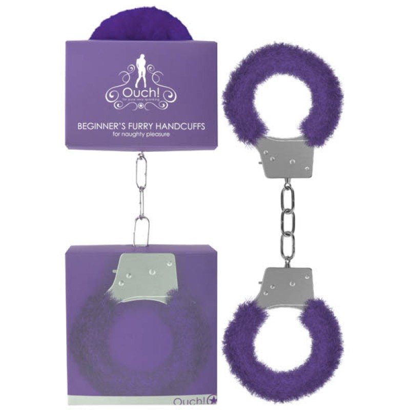 Ouch! Beginner's Furry Handcuffs - Purple