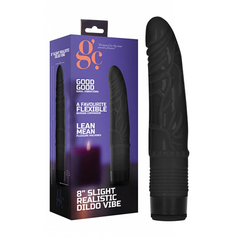 GC. 8'' Slight Realistic Dildo Vibe - Black
