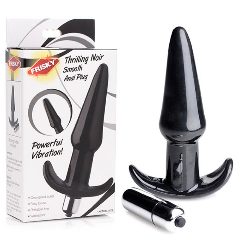 Frisky Smooth Vibrating Anal Plug - Black