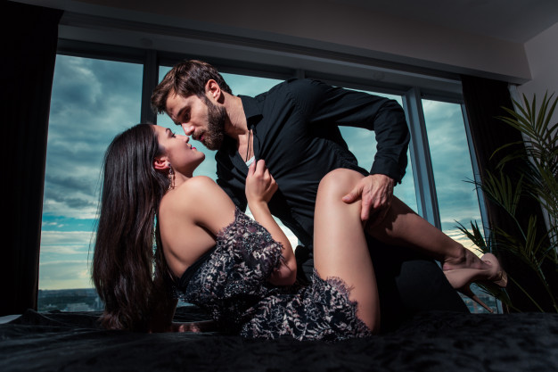 Sexy couple foreplay